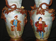 Old Paris Porcelain - pair of mantle vases