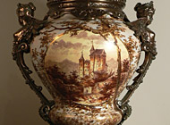 French Porcelain - hand-painted urn