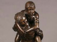 Bronze Figural Group -Desc: Boy and girl playing