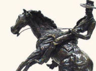 Thomas Holland - Desc: Bronze figural of a cowboy on a bucking bronto