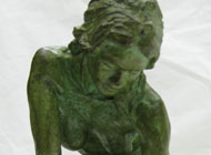 Thomas Holland - Desc: Bronze nude figural of a woman (green patina)