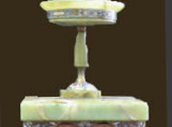 Tazza and Pedestal - Desc: made from green onyx and embellished with enamel decor